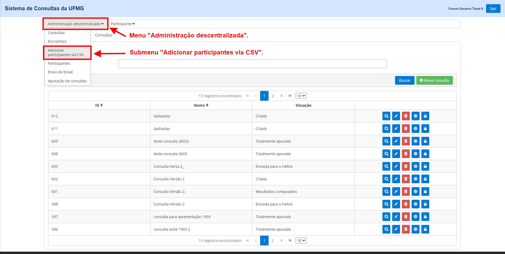 """Menu """"Administração descentralizada"""". Submenu """"Adicionar participantes via CSV""""."""